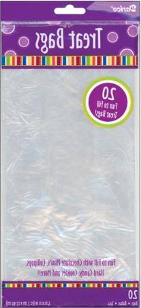 Darice 20-Piece Treat Bags, 5 by 11-Inch, Clear