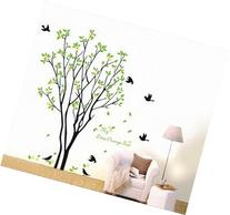 Large Tree Flying Black Birds with Quote Wall Sticker Decal