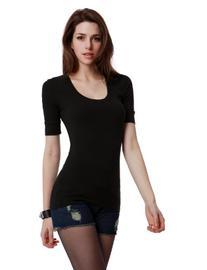 Doublju Womens Trendy 3/4 Sleeve Round Neck Easy Wear Top