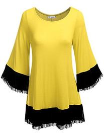 SJSP Trendy bell Sleeve Lightweight Tunic Top YELLOW,S