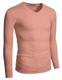 Doublju Mens Long Sleeve V-Neck Slim Fit Cotton T-Shirts
