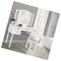 Best Choice Products Tri Mirror Vanity Set Makeup Table and