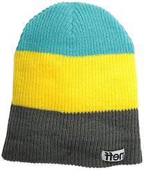 neff Men's Trio Beanie, Black/Teal/Raspberry, One Size