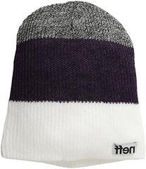 neff Men's Trio Beanie, White/Purple/Charcoal, One Size