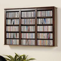 Triple Wall Mounted Media Storage - Espresso