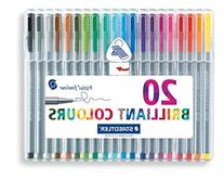 Triplus Fineliner Pens,.3mm,Metal Clad Tip,20/PK,Assorted