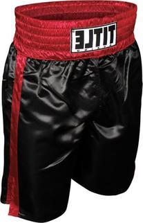 TITLE Professional Boxing Trunks, Black/Red, Medium