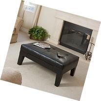 Tucson Black Leather Tufted Top Coffee Table w/ Drawer