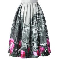 Chicwish Tulip Town Contrast Print Pleated Midi Skirt