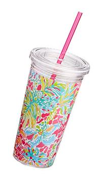 Lilly Pulitzer Tumbler with Straw, Spot Ya, Pink