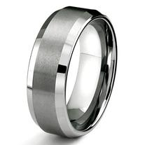 8MM Tungsten Metal Men's Wedding Band Ring in Comfort Fit