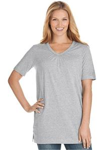 Women's Plus Size Top In Tunic Length, The Perfect Cotton V-
