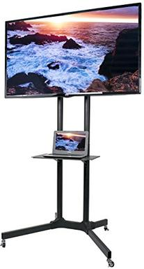 VIVO Black TV Cart for LCD LED Plasma Flat Panel Stand w/Wheels Mobile fits 32
