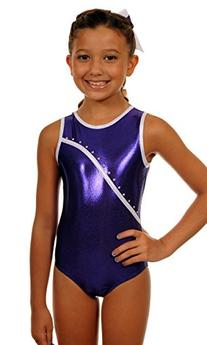 TumbleWear Little Girl's Leotard Bree | Purple Rhinestone-
