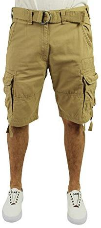 Jordan Craig Men's Twill Washed Cargo Shorts Belted Beige