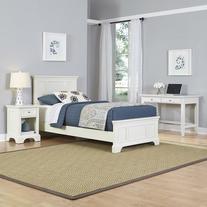 Twin Bed with Night Stand and Student Desk in White
