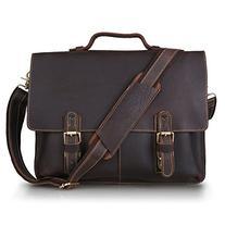 Kattee Leather Twin Buckle Men's Messenger Bag, Dark Brown,