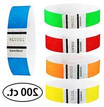 "Goldistock 3/4"" Tyvek Wristbands Rainbow 200 Ct. Variety"