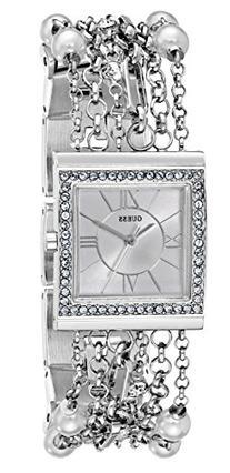 GUESS Women's U0140L1 Pearl Embellished  Silver-Tone