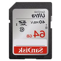 SanDisk Ultra 64GB Class 10 SDXC Memory Card Up To 40MB/s-