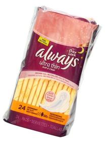 Always Ultra Thin Overnight Deodorizing Pads With Wings 24-
