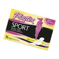 Playtex Sport Ultra Thin Pads with Wings Pads, Long, 16 ea