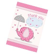Umbrella Elephant Girl Baby Shower Thank You Notes w/