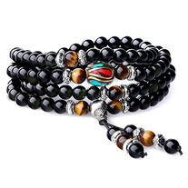 AmorWing Unique Gift Multilayer Tiger Eye and Obsidian Malas