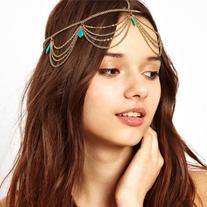 759shop  1PC Unique Turquoise Chain Jewelry Headband Party