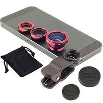 Universal 3 in 1 Clip-on Fish Eye Macro Wide Angle Mobile Phone Lens Camera Kit for Iphone 4 5 6 Samsung S4 S5 Note2 3 Motorola By Cetera