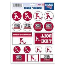 "NCAA University of Alabama Vinyl Sticker Sheet, 5"" x 7"