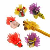 """US Toy - Wild Animal Pencil Toppers,1 1/2""""T"""