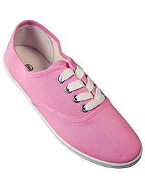 Easy USA - Womens Canvas Lace Up Shoe with Padded Insole,