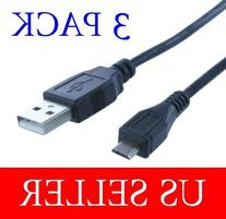 3 Pack Lot 6FT 6FEET USB2.0 A to Micro B Data Sync Charge