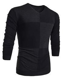 SILKWORLD Men's V Neck Argyle Knit Sweater Black US M