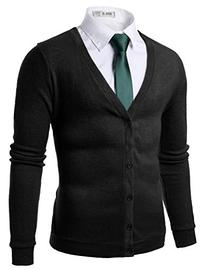 Doublju Mens Trendy Button Down Soft V-Neck Cardigan BLACK