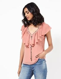 Morgan V Neck Frill Top With Detail Chain