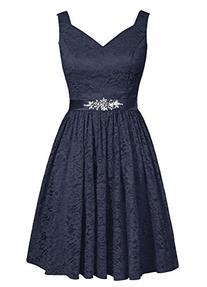 Dresstells® Women's V-neck Lace Bridesmaid Dress Short