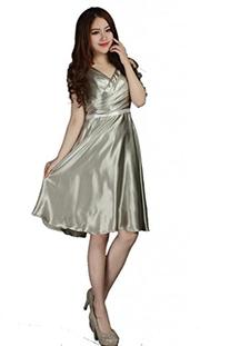 CCHAPPINESS Women's V Neck Short Bridesmaid Dress Party