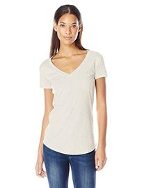 LAmade Women's V-Pocket Short Sleeve Tee, Oatmeal, Large