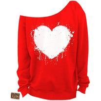 Ladies Valentine's Day Shirt Heart Slouchy Sweatshirt Grunge
