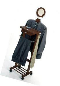 Valet Stand Rack w Casters, Mirror Drawer  # 94155