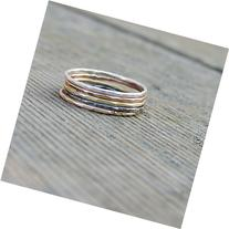 Color Variety Stacking Five Ring set- Rose and Yellow Gold,