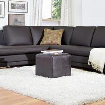 Baxton Studio Vernaccia Leather Ottoman - Dark Brown