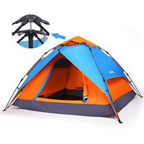 Yodo Easy Up Instant Tent for Family Camping, Blue/ Orange