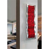 Vibrant Contemporary Ruby Red & Silver Wall Sculpture with