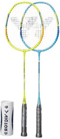 Victor Badminton Racket Set Two Light Weight Racket with