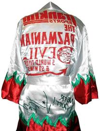 """Vinny """"Paz"""" Pazienza Signed White Robe - Autographed Boxing"""