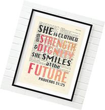 Vintage Bible page verse scripture She is Clothed with