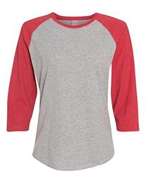 LAT Apparel Ladies 100% Cotton Baseball Jersey Tee, Heather/